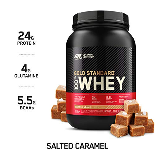 Optimum Nutrition Gold Standard 100% Whey Protein Powder, Salted Caramel, 2 Pound (Packaging May Vary)