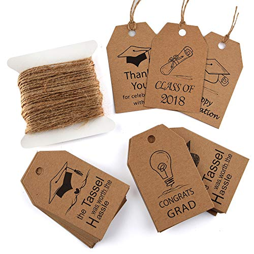 - KUUQA 60 Pieces Graduation Gift Tags Grad Kraft Paper Gift Tags with Natural Jute Twine for Graduations Party Gift Decorations