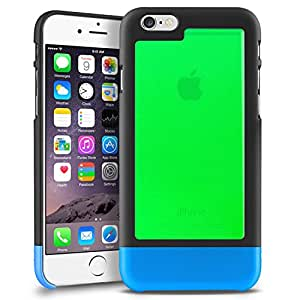 INSTEN TriTone Slim Hard Case Cover with Fingerprint Free for Apple iPhone 6 - Retail Packaging - Black/Clear Green/Blue