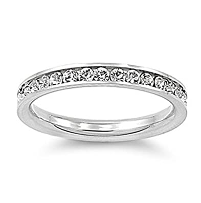 stainless steel eternity simulated cz wedding band ring 3mm sz 3 10 comes with