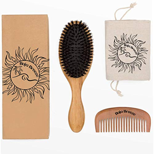 Boar Bristle Hair Brush and Wide-Tooth comb set by Baja Breeze to Promote Hair Growth and Naturally Condition Hair