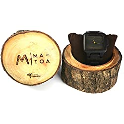 Wooden Watch for Men and Women - Rote Natural Ebony Wood Grain - Wrist Watches with Case - Matoa by WÜD