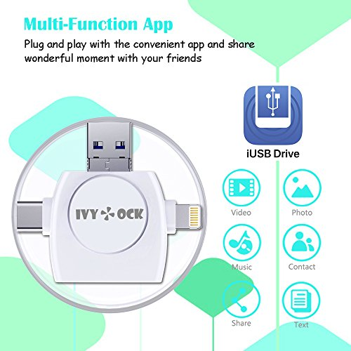 SD & Micro SD Card Reader - Memory Card Camera Reader Adapter for iPhone/iPad/GALAXY S8/Android/Mac/PC/MacBook. With Lightning,Micro USB,USB Type C,USB 3.0 Connector (4 in 1) by IVYOCK (Image #2)