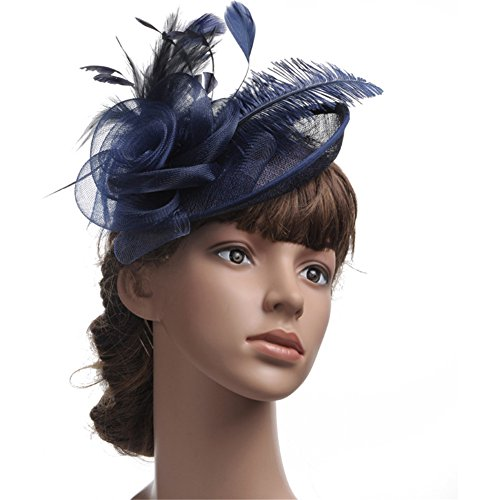 WHZZ Women's Fascinator Hat Mesh Feather Headwear Cocktail Party Hats with Clips WHZZ267 -