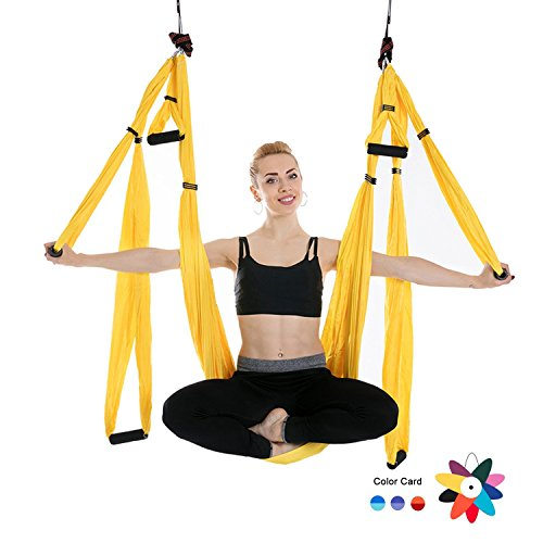 Ranbo Yoga Inversion Swing - Anti-Gravity Aerial Trapeze - Flying Hammock Sling - Relieves Back Pains, Improves your Strength, Balance, Flexibility and Endurance (yellow)