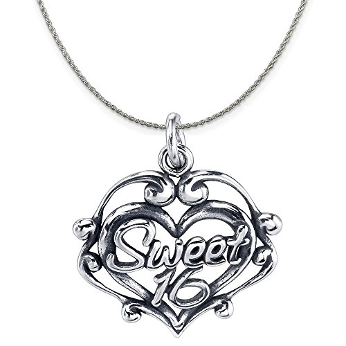 Sterling Silver Sweet - Sterling Silver Sweet 16 Filigree Heart Charm Pendant on Sterling Silver Rope Chain Necklace, 18