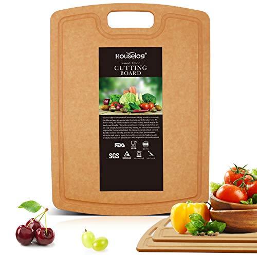 Houselog Wood Fiber Cutting Board Natural Slate Non-Slip, Juice Grooves,Chopping Board for Kitchen Dishwasher Safe (14.5X10.8inch)