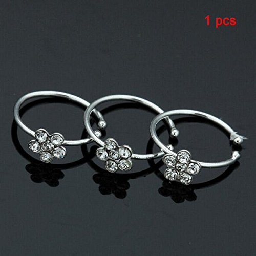 Retro Sterling Silver Crystal Shiny Flower Nose Stud Hoop Ring