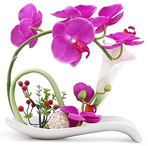 NNEE Artificial Phalaenopsis Orchid Arrangement with Decorative Flower Pot - Purple Orchild Lily