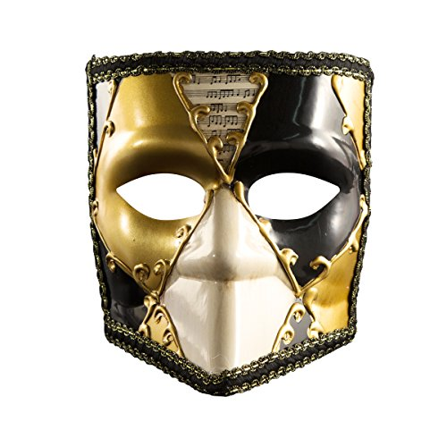 Full Face Musica Venetian Mask Mardi Gras Halloween Costume Gorgeous Mask Masquerade Ball Masks Wall Decor Art Collection,Gold