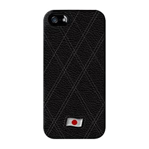 Stylish Black Leather Flag of Japan abrigo lleno negro carcasa iPhone 5 de UltraFlags