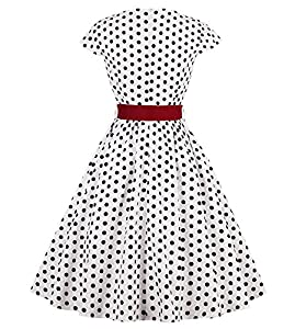 LaceLady BoatNeck Vintage Sleeveless Tea Dress with Belt Pleated Swing Party Floral28 S