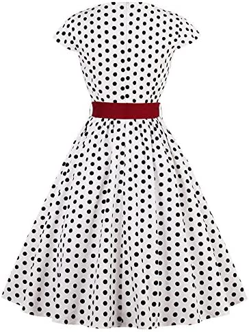 LaceLady Womens Vintage Tea Dress Prom Swing Cocktail Party Dress with Belt Polka Dot Dresses