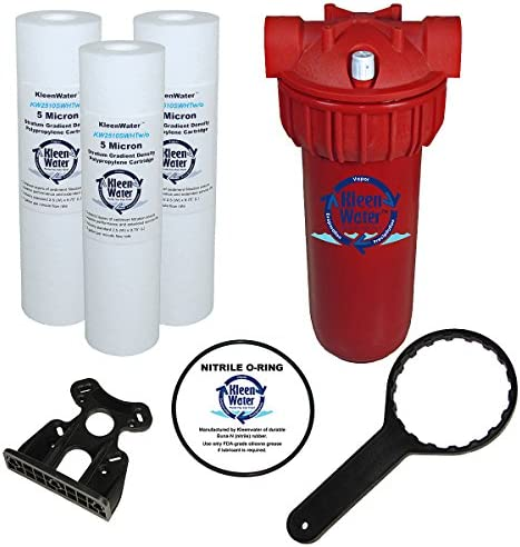 KleenWater Hot Water Filter 1 , Mounting Bracket 1 , High Temp Cartridges, 5 Micron 3 , Spare O-ring 1 , Filter Wrench 1