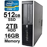 HP 8100 i7 Workstation Desktop Computer (Core i7 2.8GHz up to 3.46GHz, 2TB HDD, 512GB SSD, 16GB RAM, WIFI, 1GB Video Card with HDMI, Windows 7 Pro 64-Bit) (Certified Refurbished)