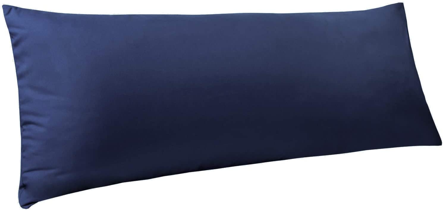 "NTBAY Body Pillow Cover, Pillowcase, 100% Brushed Microfiber, Soft and Cozy, Envelope Closure, for Adults Pregnant Women, 20"" x 54"", Navy: Home & Kitchen"