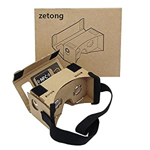 Google Cardboard Kit – Zetong Lentille 3D Virtuelle Réalité Cardboard Lunettes en Carton avec Casque, Compatible avec 3.5-4.7 pouces Ecran Android et Apple Smartphone
