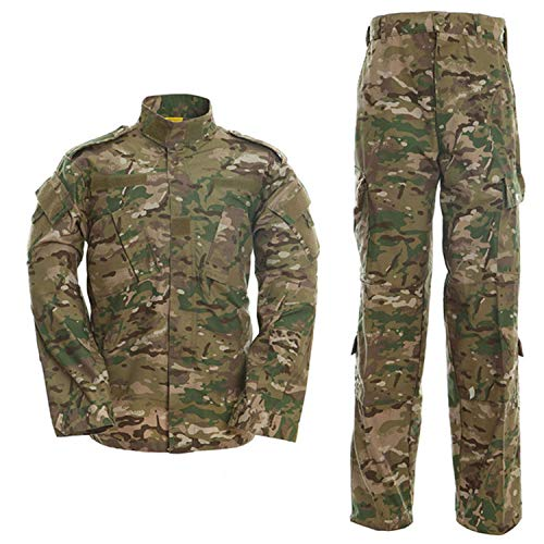 Men's Tactical Jacket and Pants Military Camo Hunting ACU Uniform 2PC Set
