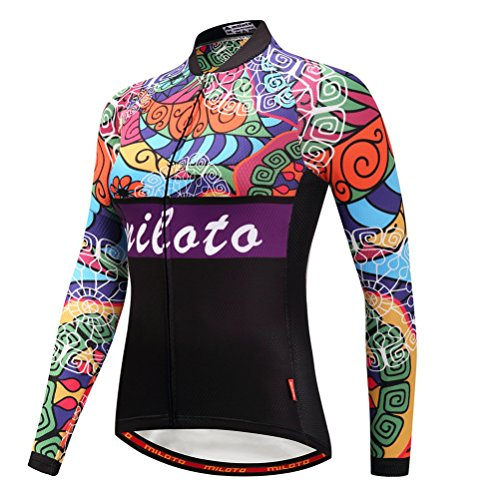 Uriah Women's Cycling Jersey Long Sleeve Reflective Retro Paint Size M(CN) (Long Jersey Retro Sleeve)