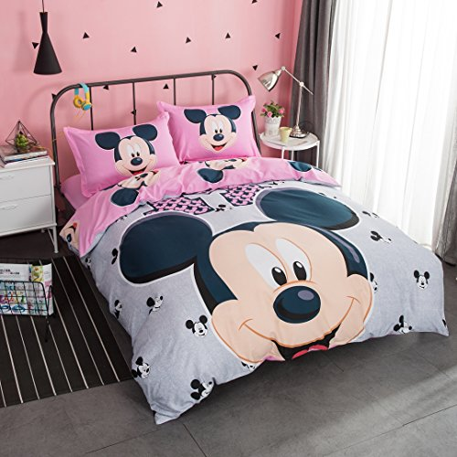 Casa 100% Cotton Kids Bedding Set Girls Mickey Series Minnie Duvet Cover and Pillow Cases and Fitted Sheet,Girls,4 - Series Cover Duvet
