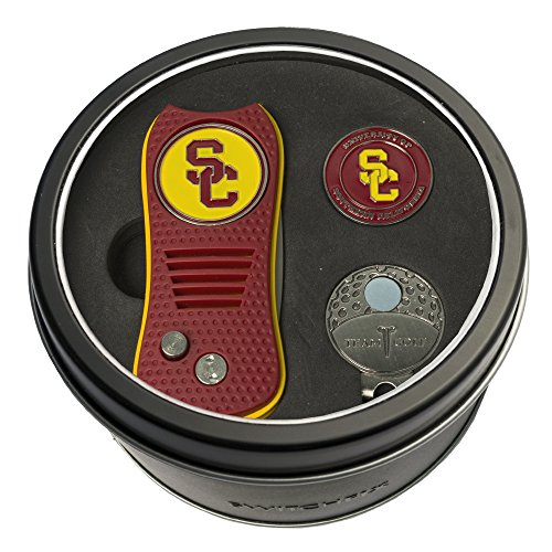 (Team Golf NCAA USC Trojans Gift Set Switchblade Divot Tool, Cap Clip, & 2 Double-Sided Enamel Ball Markers, Patented Design, Less Damage to Greens, Switchblade)