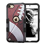 Apple iPod Touch 5th and 6th Gen Compatible Case, JoJoGoldStar Hybrid Slim Fit Heavy Duty Shockproof Plastic and Silicone TPU Tuff Hard Cover with Screen Protector and Stylus - Football