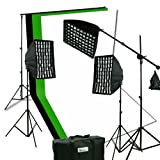 ePhoto 2400 Watt Digital Video Continuous Softbox Boom Hair Lighting Kit with 3pcs Black, White and Chromakey Green 10' x 10' Muslin Background Stand Support NEW HGD21010BWG