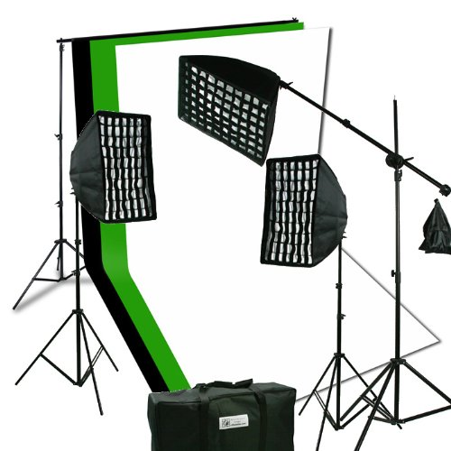ePhoto 2400 Watt Digital Video Continuous Softbox Boom Hair Lighting Kit with 3pcs Black, White and Chromakey Green 10' x 10' Muslin Background Stand Support NEW HGD21010BWG by ePhotoinc