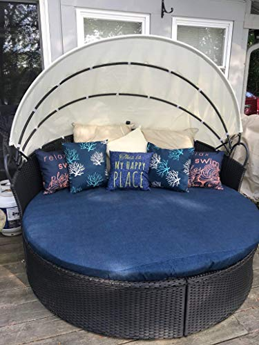 Outdoor Orbit Lounger Daybed Cover, Oval Daybed Cover with drawstring, Oval Sun bed cushion cover by Britta Leigh Designs