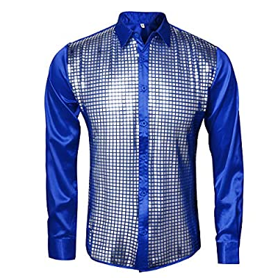 AMNPOLEN Mens Metallic Shiny Nightclub Costume Sequins Snakeskin Shirt Long Sleeve Slim Fit Button Down 70s Disco Party Props