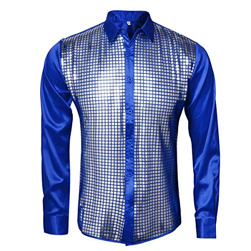 AMNPOLEN Mens Metallic Shiny Nightclub Costume Sequins Snakeskin Shirt Long Sleeve Slim Fit Button Down 70s Disco Party Fancy Dress Props (XX-Large, Blue)