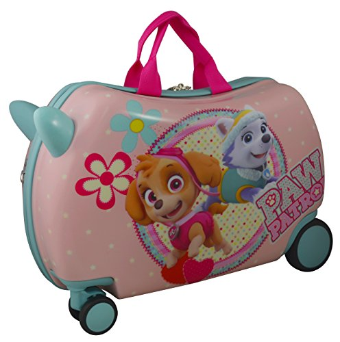 """Nickelodeon Paw Patrol Carry On Luggage 20"""" Kids Ride-On Suitcase Optional Bonus Activity Pack (Pink - Alone)"""