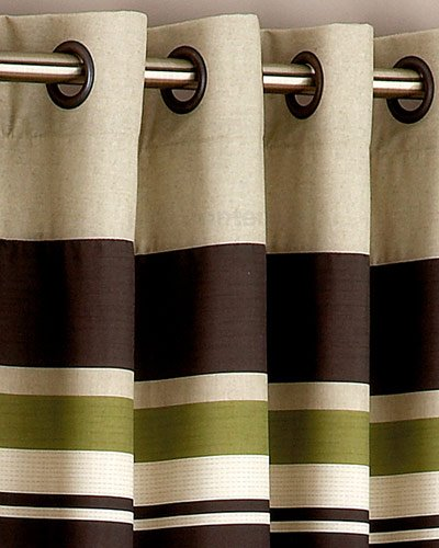 Lime Green Brown STRIPE Heavy Eyelet Ring Top Curtains 66 x 72 ...