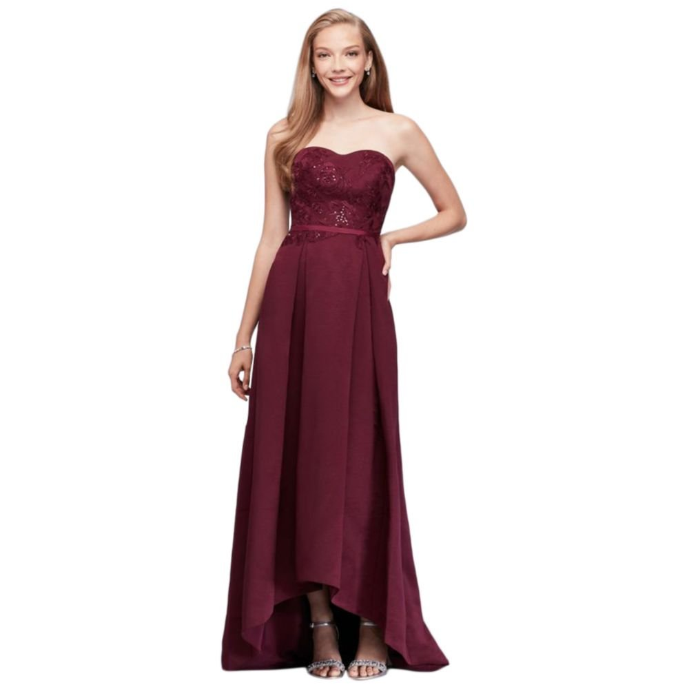 David's Bridal Appliqued Faille High-Low Bridesmaid Dress Style OC290019, Wine, 20