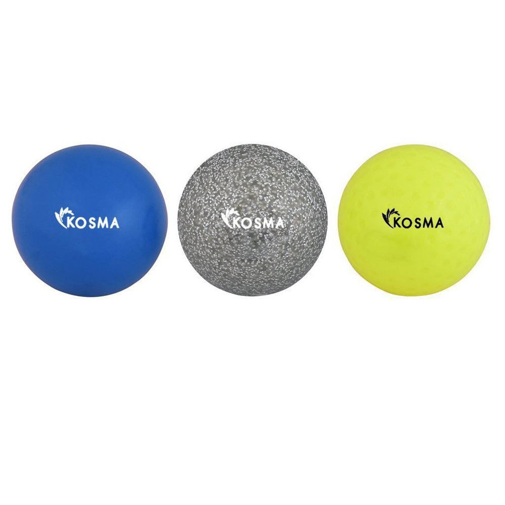 Kosma Lot de 3  balles de Hockey | Sports de Plein air PVC Practise Balles d'entraî nement paillettes d' argent bleu lisse lot de 3) Monstar KG-26025