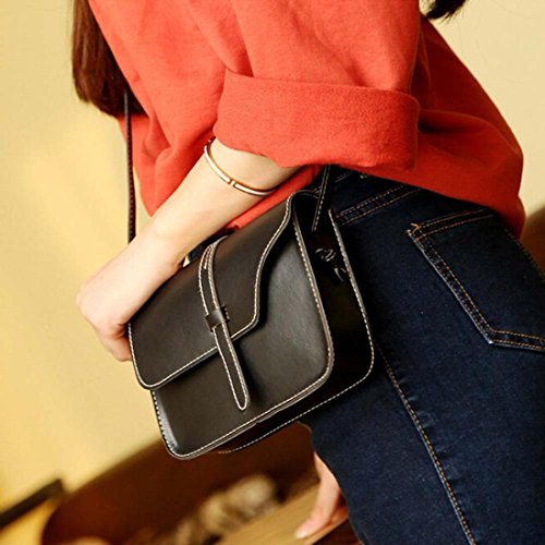 Fulltime (TM) mujeres Vintage bolso bolsa de piel bolso Cruz Cuerpo Hombro Messenger Bag, Infantil mujer, hot pink, 18.5cm(L)*13.5(H)*4cm(W) negro