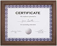 "AmazonBasics Certificate Document Frame Without Mat, 8.5"" x 11"", Aged Waln"