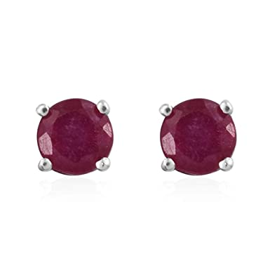 Amethyst 925 Silver Platinum Plated Push Back Solitaire Stud Earrings for Women