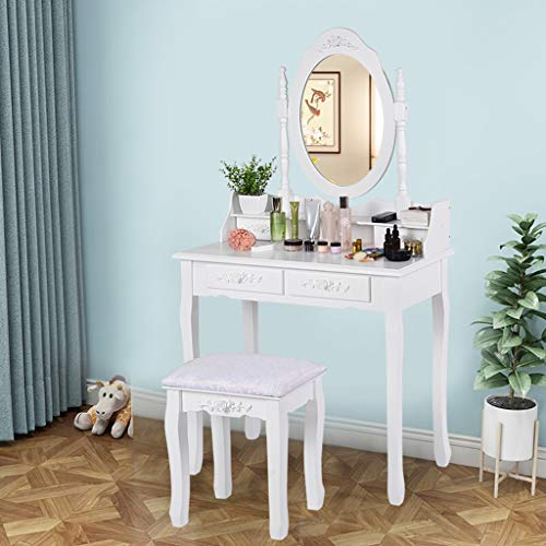 Dressing Table with Cushioned Stool, Vanity Table Set with Oval Mirror, 4 Drawers // Littay (White)