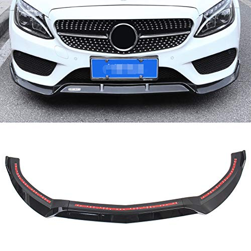 GZYF ABS Auto Front Bumper Lip Cover Trim Décor Fits 2015-2018 Mercedes Benz C-Class W205 Sport DP Style, Glossy Black