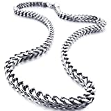 INBLUE Men's 6mm Wide Stainless Steel Necklace Curb Chain Link Silver Tone