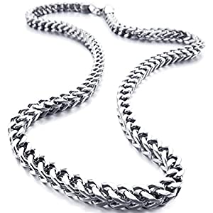 INBLUE 6mm Wide Stainless-Steel Necklace Curb Chain Link Silver-Tone