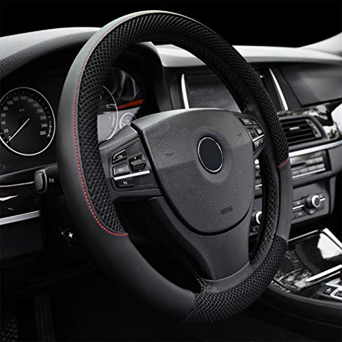 LucaSng Black Microfiber Leather and Ice Silk Fabrics Car Steering Wheel Cover Fit 14.56