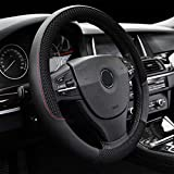 """LucaSng Black Microfiber Leather and Ice Silk Fabrics Car Steering Wheel Cover Fit 14.56""""-14.96"""""""
