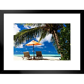 24x36 Hammock between two palms at a tropical resort Canvas Art Home Decor