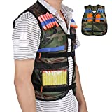Bennyue Tactical Vest Camo for Nerf N-strike Battle Military Combat Camouflage Jacket Army Style Gun Elite Storage Pockets with Extendable Adjustable Strap Fit to Most Size