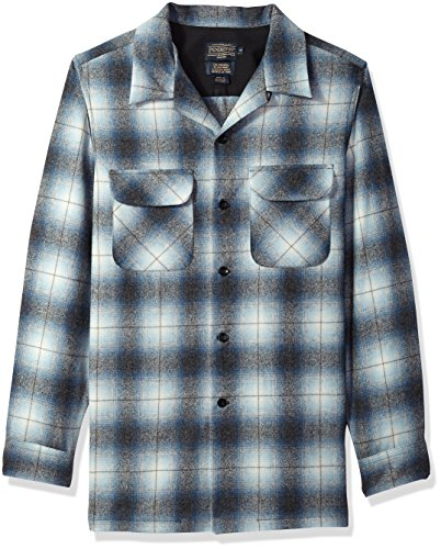 Pendleton Men's Fitted Long Sleeve Board Shirt, Blue/Grey Mix Ombre, MD