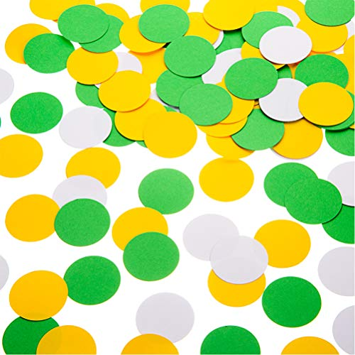 Glitter Paper Confetti Circle Dots for Table Wedding Birthday Party Decoration, 1.2 inch in Diameter (yellow,green,white,200pc) -