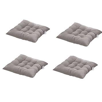 4 cómodos cojines para silla,Worsendy cojines de silla exterior,cojines de terraza,cocina de jardín Cojines de silla de comedor 40x40 cm Crema Cena silla ...