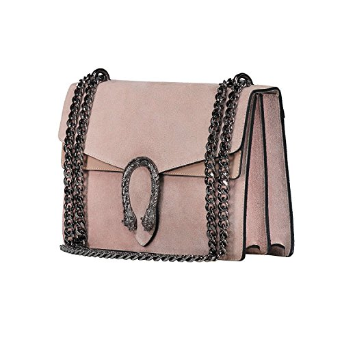 purse genuine bag suede body leather Italian Nude designer bag chain flap evening cross RACHEL F0fxRwP